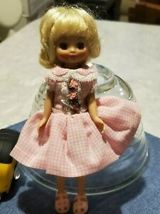 """TONNER TINY BETSY MCCALL 8"""" DOLL - BLONDE - PINK FLOWER & LACE CHECKERED DRESS"""