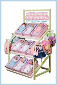RARE Madame Alexander Newborn Nursery BABY DOLL Adoption Center Wood Display
