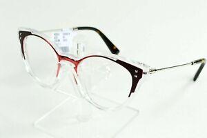 Valentino Red Clear Oval Eyeglasses Womens Italy VA3018 5072 50/18/140