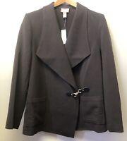 New Chicos Sz 1 Womens S/M Dark Brown Stretch Knit Jacket Blazer Toggle Closure