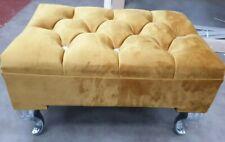 Foot Rest Pouffe Stool QueenAnne Legs British Made mustard plush velvet
