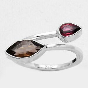 Smoky Quartz - Brazil and Garnet 925 Sterling Silver Ring s.6.5 Jewelry E137