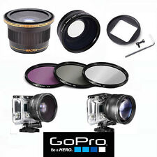 HD FISHEYE LENS X38 + HD TELEPHOTO ZOOM LENS + FILTER KIT FOR GOPRO HERO6  BLACK