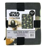 "Disney Baby Yoda Gray BLANKET 40"" x 50"" FLEECE THROW Mandalorian Plush Throw"