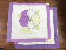 "2 Vtg Cutter Quilt 18"" Squares Pansy Flower Applique Embroidered Purple Pillow a"