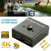 HDMI Splitter Switch Bi-Direction 4K Switcher 2 in 1 out Adapter Hub HDCP 1080P