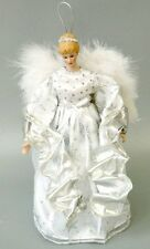 """12"""" Angel Porcelain Doll Tree Topper Xmas Decor Collect White Silver Wings Gift"""