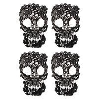 4pcs Skull Lace Trim Punk Embroidery Wedding Motif Bridal DIY Lace Applique