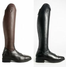 Brogini COMO V2 Long Tall Laced Leather Strech Riding Boots Black/Brown 3.5-11