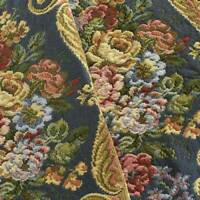 Blue/Yellow/Multi Floral Stripe Tapestry Decorating Fabric, Fabric By The Yard
