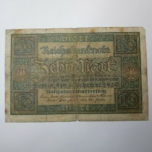 Germany Reich 10 Mark 1920 F #2 Banknote Paper Money FREE POST Collectible