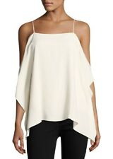 Theory NWT Womens Rosina Ivory white Size L Cold Shoulder Textured Blouse Top 80