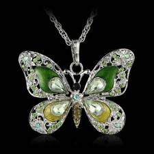 Women Girls Enamel Silver Plated Butterfly Crystal Pendant Necklace With Chains