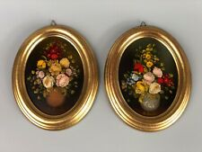 Pair of Vintage Old Original Oil on Board Oval Paintings Signed R.ROSINI - Rare