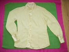 Vtg 60s Manning Silver Shirt Blouse Yellow w/Pointed Collar Sz S Crepe & Satin