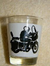 Motorcycle Biker shot glass- great design- black & white on front- NWOT-Unusual