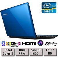 "Lenovo G580 Intel Dual Core i5 8GB RAM 500GB HDD 15.6"" HD Blue Windows 8 Laptop"