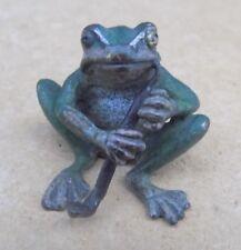 Probabilmente austriaco a freddo verniciato bronzo in miniatura-Frog che fuma la pipa