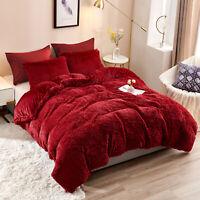 5 Pcs Plush Shaggy Duvet Cover Luxury Ultra Soft Crystal Velvet Bedding Set
