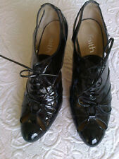 Black LEATHER Patent Lace up Shoes/Heels - Size 4 / 37- Worn Once
