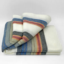 "SOFT & WARM STRIPED ALPACA LLAMA WOOL BLANKET PLAID THROW 90""x65"" QUEEN"