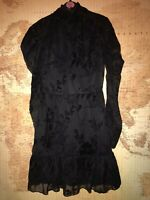 ❤️New with Tags Parisian Black Flock Frill Print Long Sleeve Dress Size 8❤️