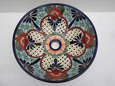 "14"" ROUND TALAVERA SINK vessel mexican bathroom handmade ceramic folk art"