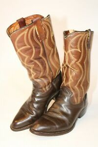 Vintage 1970's Handcrafted Mens 8.5 D Classic Brown Leather Western Cowboy Boots
