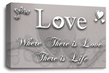 LOVE FAMILY QUOTE ART Picture Powder Grey Wall Home Canvas Print Large