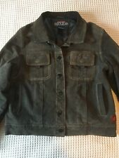 Womens Leather Quicksilver Roxy Jacket Coat Denim Color Grey Blue GUC Insulated