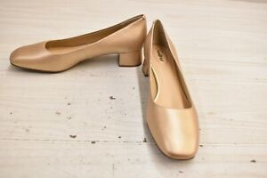 Trotters Lola Square Toe Leather Pumps, Women's Size 9.5N, Gold Wash NEW