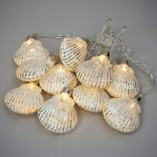 LED Fairy Light Chain 10 Glass Silver Seashell Baubles Nautical or Christmas