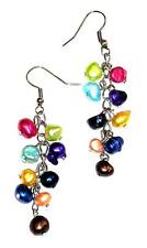 EARRINGS Wires & Dangling Clusters LONG COLORFUL FRESHWATER PEARLS
