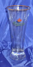 "CARLSBERG Beer Pilsner Gold Rimmed Flair Glass Crown 7"" Tall"