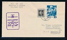 61886) LH FF München - London  24.6.65, Brief ab DDR