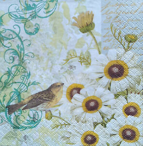 3 paper beverage Decoupage Napkins, Sunflowers, Birds, Paula Scalatta, Free ship