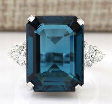 13.04 Carat Natural Topaz 14K White Gold Diamond Ring