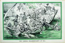 1913 Karikatur Caricature Cartoon Punch Liberal Pleasure-Party At Sea Raven-Hill