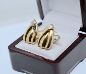 Vintage Jewellery Solid Yellow Gold Earrings Natural Diamonds Antique Jewelry