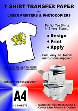 LASER T-SHIRT TRANSFER PAPER FOR LIGHT FABRICS 10 X A4