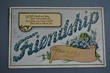 R&L Postcard: Greetings, BB Birn Bros Friendship Embossed Forget Me Not Flowers