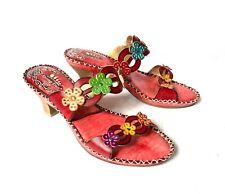 L'Artiste Spring Step Leather Artsy Low Heel Slides Strappy Sandals Women's 38 8