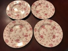 """Set of 4  Queen's Red ROSE CHINTZ Dinner Plates 10.5"""" Made in England Mint"""