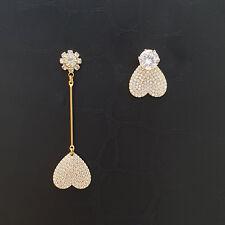 SE141 Unbalanced Two Styles Cubic Zirconia Heart Stud Drop Dangle Earrings Ear