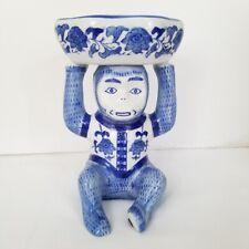 Blue White Porcelain Monkey Vintage? Hand Painted Soap Dish Trinket Chinoiserie
