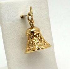 14K Gold 3D Chiming Wedding Bell Hearts Charm Pendant 3.3 Gr