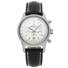 Breitling Transocean Chrono Auto Steel Diamonds Ladies Watch Date A4131063/G757