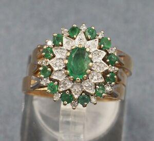 Emerald & Diamond 3 Ring Womens Ring Wedding Set 9ct Yellow & White Gold Size P