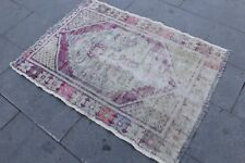 "Vintage Handmade Turkish Purple Oushak Area Rug 95""x50"""