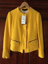 Zara Yellow Tweed Blazer With Zips, Size Small, NWT
